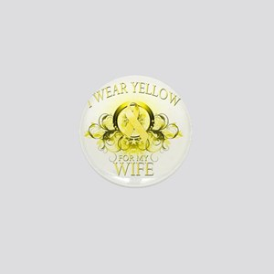 I Wear Yellow for my Wife (floral) Mini Button