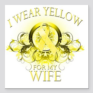 """I Wear Yellow for my Wif Square Car Magnet 3"""" x 3"""""""