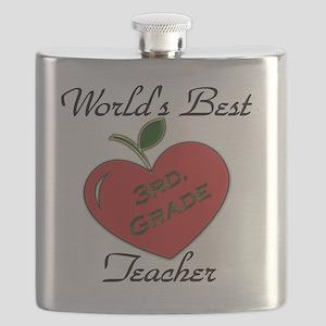 Worlds Best Teacher Apple 3 Flask
