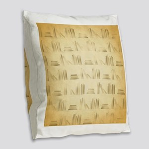 Books Pattern, Old Look Style. Burlap Throw Pillow