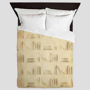 Books Pattern, Old Look Style. Queen Duvet
