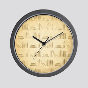 Books Pattern, Old Look Style. Wall Clock