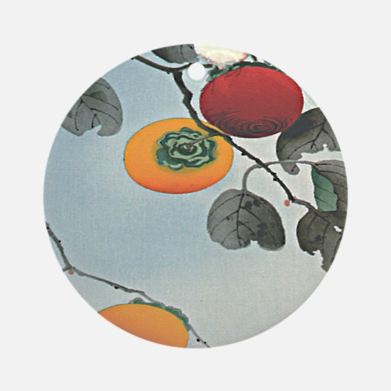 Nuthatch bird and three persimmons  Round Ornament