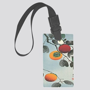 Nuthatch bird and three persimmo Large Luggage Tag