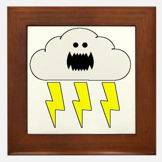 thunderandlightningwhite Framed Tile