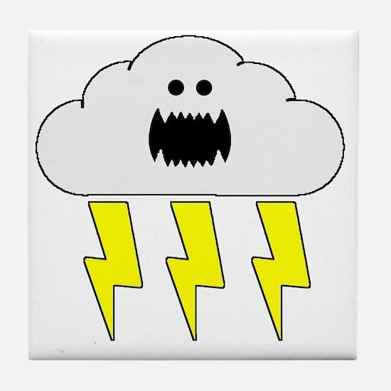 thunderandlightningwhite Tile Coaster