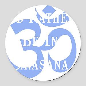 Rather Be Savasana White Round Car Magnet