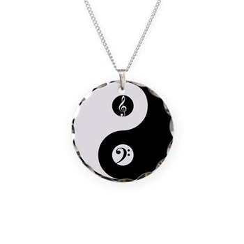 Yin Yang With Bass And Treble Clefs Necklace Charm