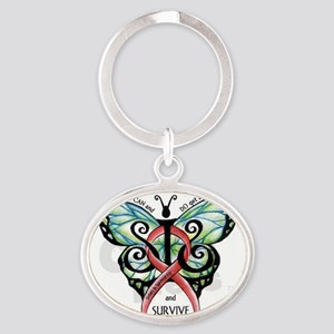 SIS Butterfly w motto Oval Keychain
