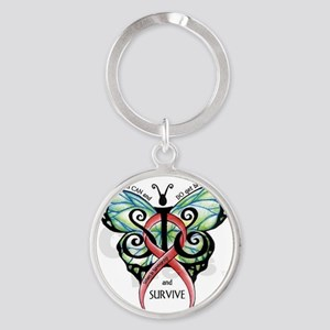 SIS Butterfly w motto Round Keychain