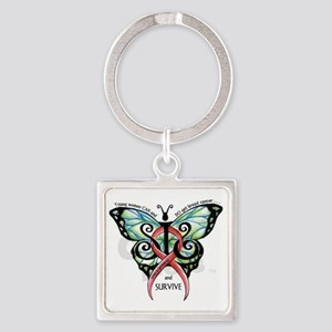 SIS Butterfly w motto Square Keychain