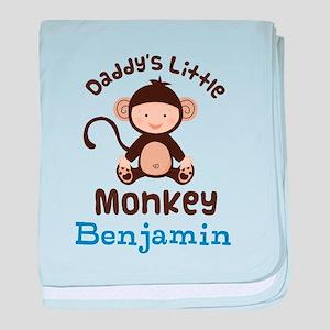 Daddys Little Monkey personalized baby blanket