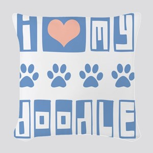 I-Love-My-Doodle-Box-Font Woven Throw Pillow