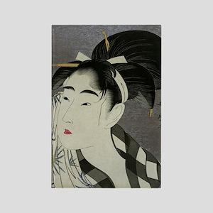 Woman-Wiping-her-face-Utamaro-Woo Rectangle Magnet