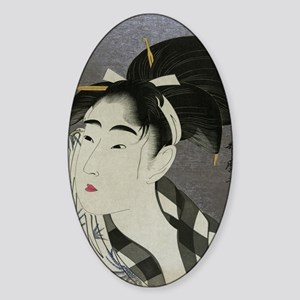 Woman-Wiping-her-face-Utamaro-Woodb Sticker (Oval)