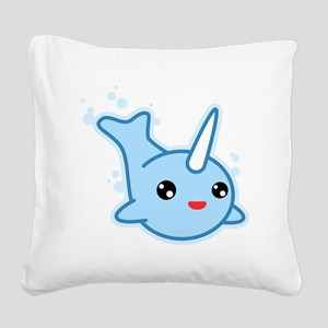 Narwhal Kawaii Square Canvas Pillow