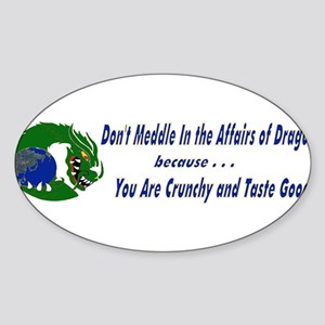 Don't Fiddle With Dragons Oval Sticker