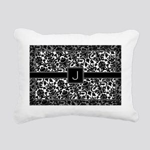monogram_damask_bw_J2 Rectangular Canvas Pillow