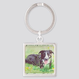 My Stock dog light green Square Keychain