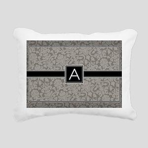 monogram_damask_bw_A3 Rectangular Canvas Pillow