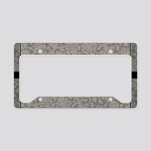 monogram_damask_bw_A3 License Plate Holder