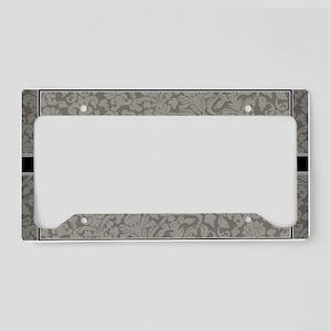 monogram_damask_bw_A3 License Plate Holder