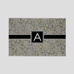 monogram_damask_bw_A3 Rectangle Magnet