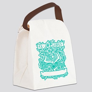 Book and Flowers Ex Libris Teal Canvas Lunch Bag