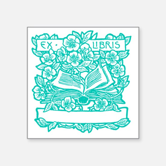 "Book and Flowers Ex Libris  Square Sticker 3"" x 3"""