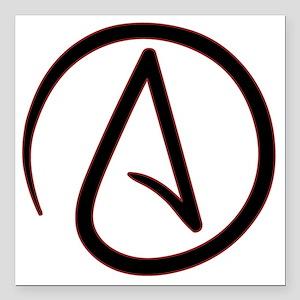 "AtheistSymbolRound Square Car Magnet 3"" x 3"""