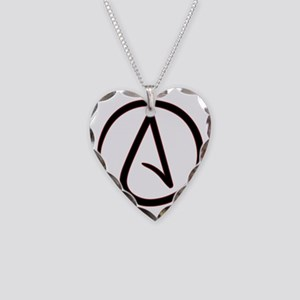 AtheistSymbolRound Necklace Heart Charm