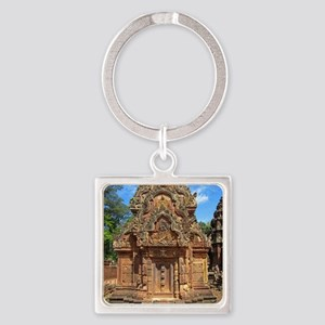 Banteay Srei temple tower Square Keychain