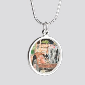 truck softened 2 Silver Round Necklace