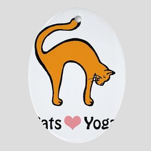 Cats love yoga copy Oval Ornament