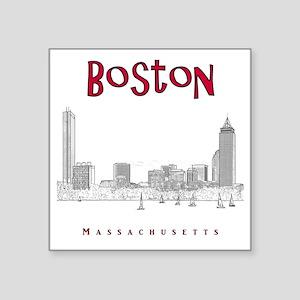"Boston_10x10_Skyline_BlackR Square Sticker 3"" x 3"""