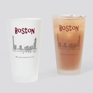 Boston_10x10_Skyline_BlackRed Drinking Glass
