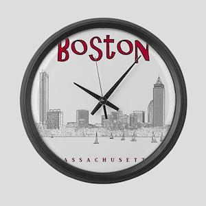 Boston_10x10_Skyline_BlackRed Large Wall Clock