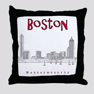 Boston_10x10_Skyline_BlackRed Throw Pillow