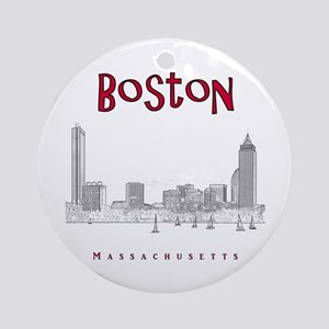 Boston_10x10_Skyline_BlackRed Round Ornament