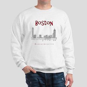 Boston_10x10_Skyline_BlackRed Sweatshirt