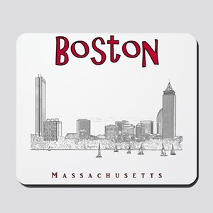 Boston_10x10_Skyline_BlackRed Mousepad