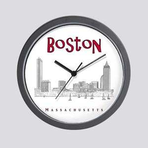 Boston_10x10_Skyline_BlackRed Wall Clock