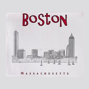 Boston_10x10_Skyline_BlackRed Throw Blanket