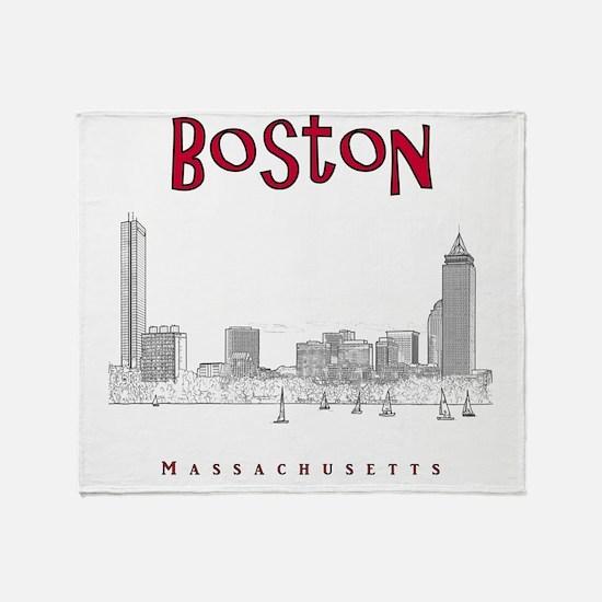 Boston_10x10_Skyline_BlackRed Throw Blanket
