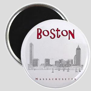 Boston_10x10_Skyline_BlackRed Magnet