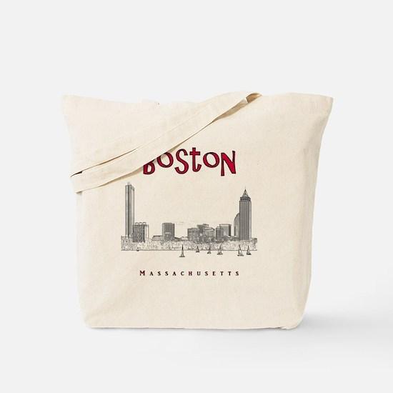 Boston_10x10_Skyline_BlackRed Tote Bag