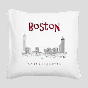 Boston_10x10_Skyline_BlackRed Square Canvas Pillow
