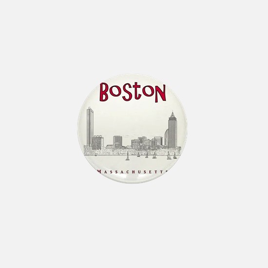 Boston_10x10_Skyline_BlackRed Mini Button