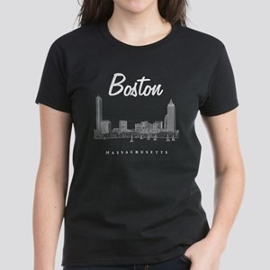 Boston_10x10_Skyline_White Women's Dark T-Shirt