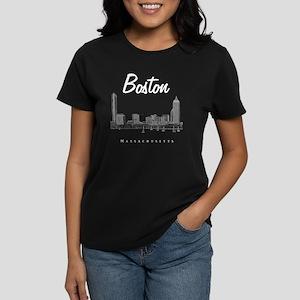 Boston_10x10_Skyline_White Women's Dark T-Shirt
